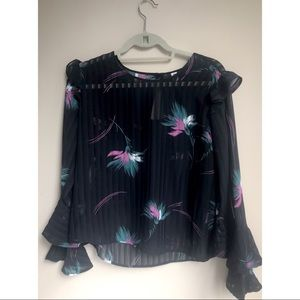 BP long flare sleeved floral top